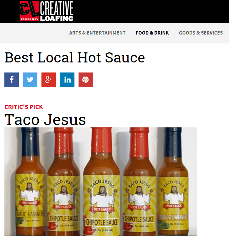 Taco Jesus Hot Sauce:Creatinve Loafing Best of the Bay